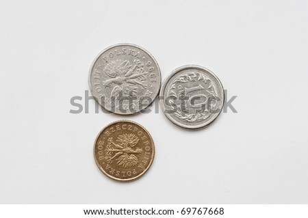 an image of coins of polish currency zloty - stock photo