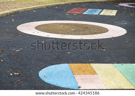 An image of colorful number on playground/popular street game - stock photo