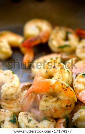 An image of decadent seasoned sauteed shrimp - stock photo