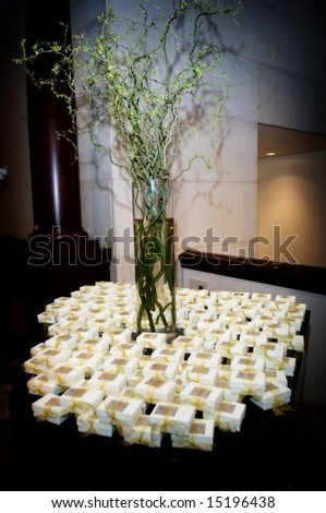 An image of decorated table with wedding favors - stock photo