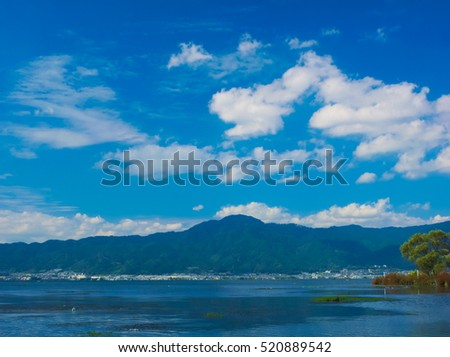 An image of Famous Mt. Hiei and Lake Biwa under azure from Kusatsu, Japan on October 16, 2016