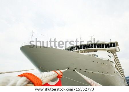 An image of front view of modern cruise- liner - stock photo