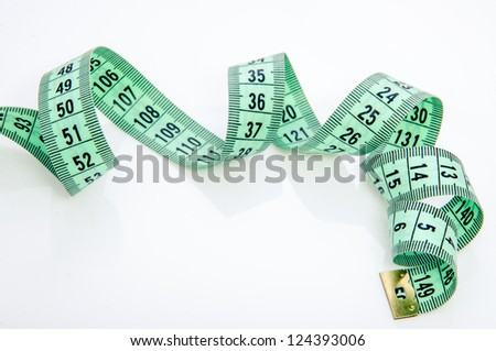 An image of green centimeter on white background