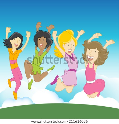 An image of happy girls jumping in the air. - stock photo