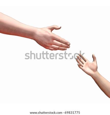 An image of helping hands isolated on white