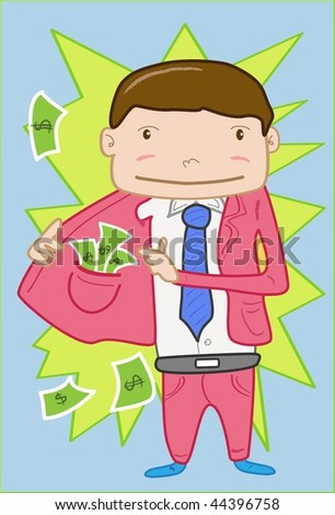 An image of man holding open half his coat to show the stack of currency notes stuffed in the inside pocket of the coat