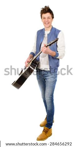 an image of man with guitar on the white background