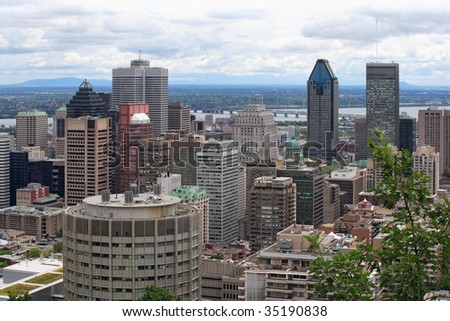 An image of Montreal, Quebec, from Mont Royal. - stock photo