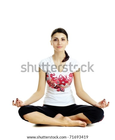 An image of nice woman practicing Yoga exercises - stock photo