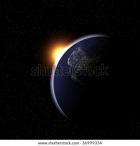 An image of night earth from space.