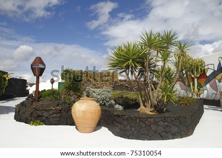 An image of one artistic garden in a museum in Lanzarote - stock photo