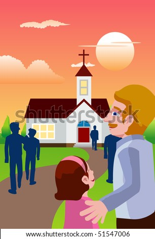 An image of people going in the evening to a chapel to attend mass - stock photo