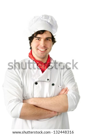 An image of Professional chef man  over white background. - stock photo
