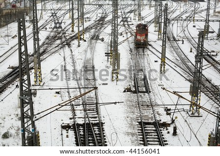 An image of railroad in Prague bird's-eye view - stock photo