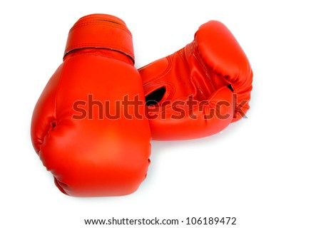 An image of red boxing gloves on white background