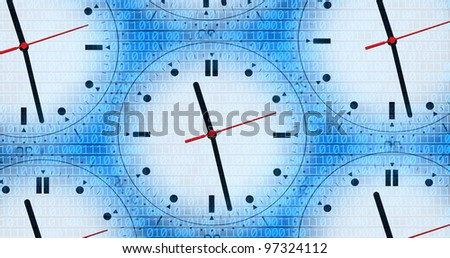 an image of several clocks and binary code