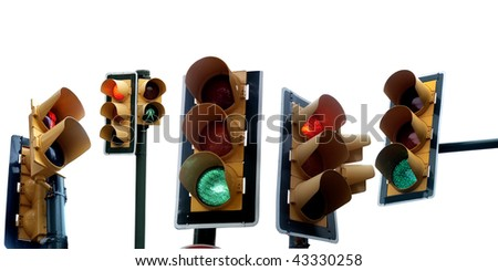 an image of several traffic lights on white - stock photo