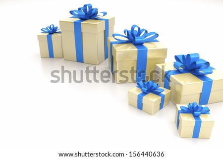 An image of some nice gift boxes with a blue ribbon - stock photo