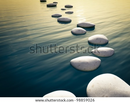 An image of some nice step stones in the evening sea - stock photo