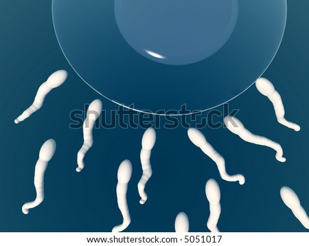 An image of some sperm about to fertilize an egg.