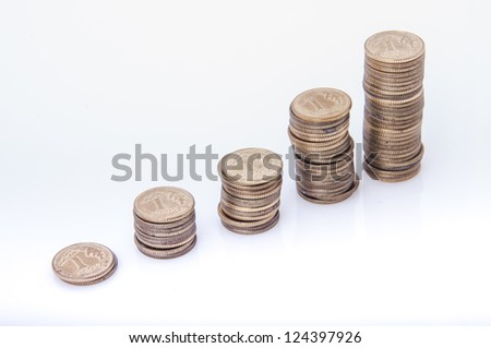 An image of stack of polish money on white - stock photo