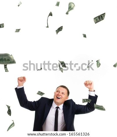 an image of strange man under rain of dollars