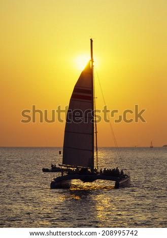 An Image of Sunset Cruise - stock photo