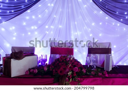 an image of tables setting at a luxury wedding hall - purple lights & Image Tables Setting Luxury Wedding Hall Stock Photo 204799798 ...