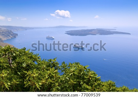 An image of the beautiful greek island Santorini - stock photo