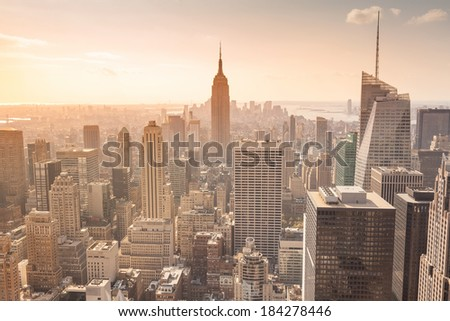 An image of the Empire State Building in New York - stock photo