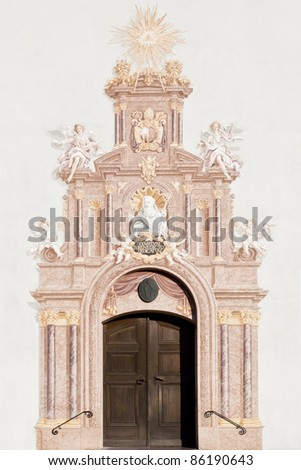 An image of the entry door Benediktbeuern in Bavaria Germany - stock photo
