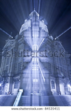 An image of the famous Frauenkirche in Dresden Germany with a zoom - stock photo