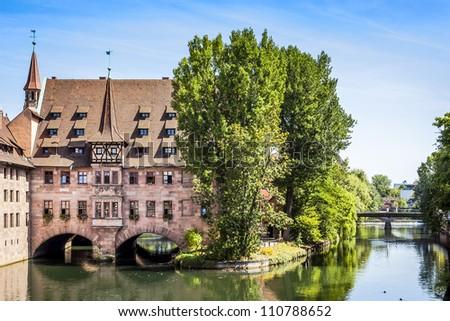 An image of the Heilig Geist Spital Nuremberg Bavaria Germany - stock photo