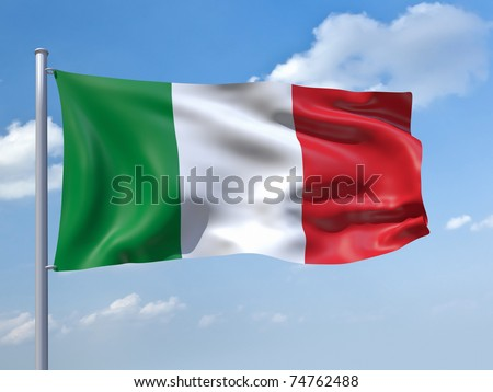 An image of the italy flag in the blue sky - stock photo