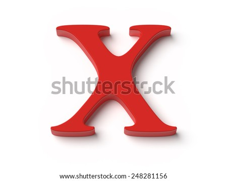 An image of the letter x in red top view