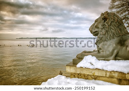 An image of the lions at Tutzing Bavaria Germany - stock photo