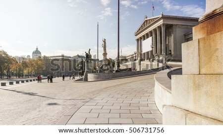 An image of the Parliament building in Vienna Austria
