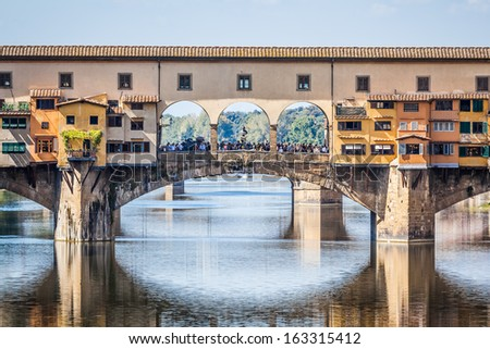 An image of the Ponte Vecchio in Florence Italy - stock photo