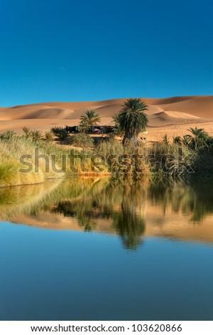 An image of the Sahara desert in Libya - stock photo