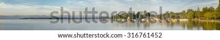 An image of the Starnberg Lake in Bavaria Germany - Tutzing - stock photo