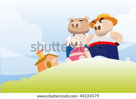 An image of the three little pigs admiring their brick house from a small hillock - stock photo