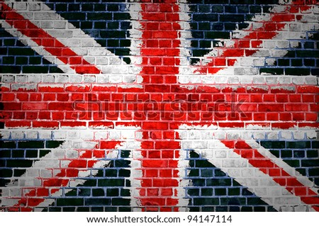 An image of the union jag flag painted on a brick wall in an urban location - stock photo