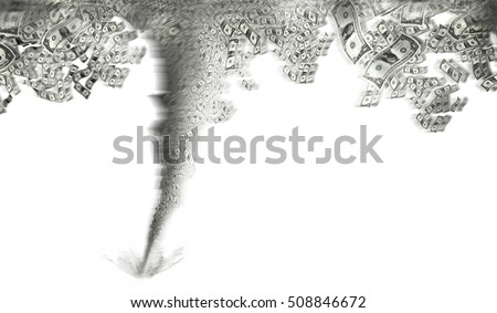 an image of tornado with dollar bills