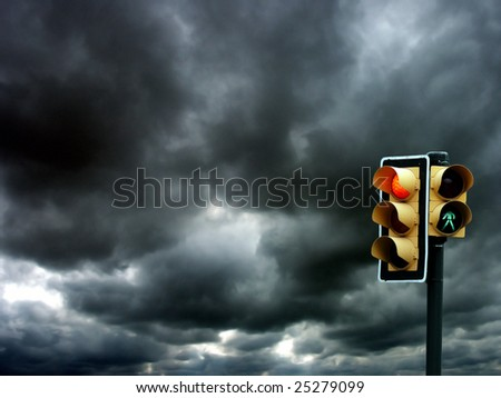 an image of Traffic lights on cloudy background - stock photo