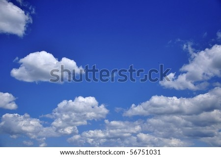 an image of white clouds on the blue sky background - stock photo