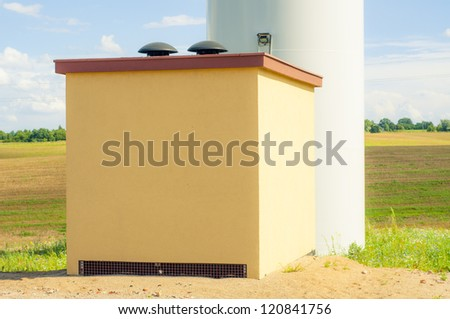 An image of windturbines against blue sky - stock photo