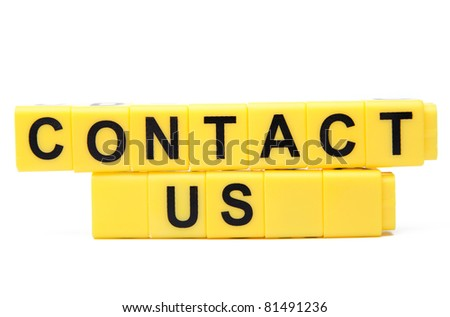 An image of yellow blocks with words ''contact us'' on them - stock photo