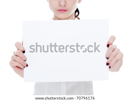 An image of young businesswoman holding sheet of paper - stock photo
