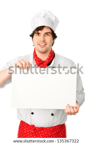An image of young Cook with a blank banner - stock photo