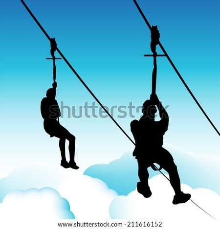 An image of zip line men. - stock photo